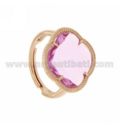 HYDROTHERMAL STONE RING WITH PINK FLOWER CLEAR LOAD IN ROSE GOLD PLATED AG TIT 925
