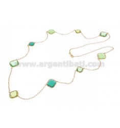 925 ‰ ROSE GOLD PLATED SILVER LACE NECKLACE AND HYDROTHERMAL STONES WITH GREEN TONES COLOR 4-23-40-41 CM 90