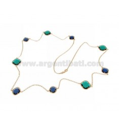 925 ‰ ROSE GOLD PLATED SILVER LACE NECKLACE AND BLUE AND GREEN HYDROTHERMAL STONES COLOR 60-63 CM 90