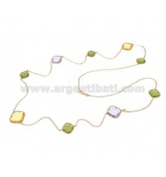 925 ‰ ROSE GOLD PLATED SILVER LACE NECKLACE AND GREEN, YELLOW AND LILAC HYDROTHERMAL STONES COLOR 5-9-29 CM 90