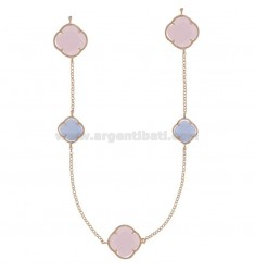 925 ‰ ROSE GOLD PLATED SILVER LACE NECKLACE AND PURPLE AND WHITE HYDROTHERMAL STONES COLOR 8-13-52 CM 90