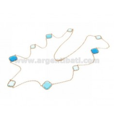 925 ‰ ROSE GOLD PLATED SILVER LACE NECKLACE AND HYDROTHERMAL STONES WITH LIGHT BLUE TONES COLOR 2-59-65 CM 90