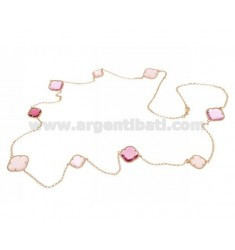 925 ‰ ROSE GOLD PLATED SILVER LACE NECKLACE AND HYDROTHERMAL STONES WITH PINK TONES COLOR 11-16-35-50 CM 90