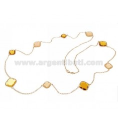 925 ‰ ROSE GOLD PLATED SILVER LACE NECKLACE AND HYDROTHERMAL STONES WITH YELLOW TONES COLOR 3-5-31 CM 90