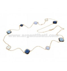 925 ‰ ROSE GOLD PLATED SILVER LACE NECKLACE AND HYDROTHERMAL STONES WITH BLUE SHADES COLOR 1-2-15-28-60 CM 90