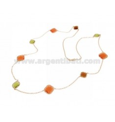 925 ‰ ROSE GOLD PLATED SILVER LACE NECKLACE AND GREEN, ORANGE AND EARTH HYDROTHERMAL STONES COLOR 9-6P-68 CM 90