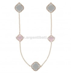 925 ‰ ROSE GOLD PLATED SILVER LACE NECKLACE AND WHITE, PINK AND GRAY HYDROTHERMAL STONES 11-12-15 CM 90