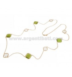 925 ‰ ROSE GOLD PLATED SILVER LACE NECKLACE AND WHITE AND GREEN HYDROTHERMAL STONES COLOR 8-9 CM 90