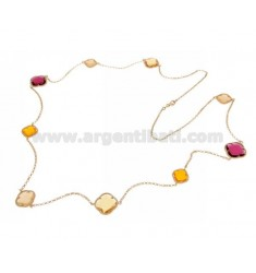 925 ‰ ROSE GOLD PLATED SILVER LACE NECKLACE AND HYDROTHERMAL STONES YELLOW OCHER AND FUCHSIA RED COLOR 8-13-52 CM 90