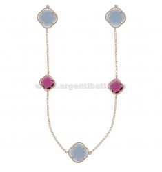 925 ‰ ROSE GOLD PLATED SILVER LACE NECKLACE AND HYDROTHERMAL STONES PURPLE, PINK RED FUCHSIA COLOR 11-13-16-50 CM 90