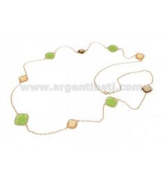925 ‰ ROSE GOLD PLATED SILVER LACE NECKLACE AND SMOKED HYDROTHERMAL STONES, GREEN AND YELLOW COLOR 31-42-68 CM 90