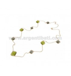 925 ‰ ROSE GOLD PLATED SILVER LACE NECKLACE AND GREEN AND GRAY HYDROTHERMAL STONES COLOR 9-51 CM 90