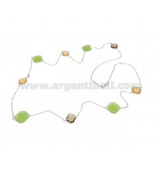 LACE NECKLACE IN RHODIUM-PLATED SILVER 925 ‰ AND SMOKED HYDROTHERMAL STONES, GREEN AND YELLOW COLOR 31-42-68 CM 90