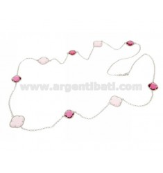 NECKLACE IN SILVER RHODIUM-PLATED TIT 925 ‰ AND HYDROTHERMAL STONES WITH PINK TONES COLOR 11-16-35-50 CM 90