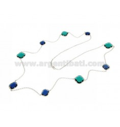 LACE NECKLACE IN RHODIUM-PLATED SILVER 925 ‰ AND BLUE AND GREEN HYDROTHERMAL STONES COLOR 60-63 CM 90