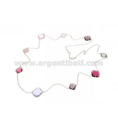 LACE NECKLACE IN RHODIUM-PLATED SILVER 925 ‰ AND HYDROTHERMAL STONES PURPLE, PINK RED FUCHSIA COLOR 11-13-16-50 CM 90