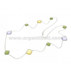 LACE NECKLACE IN RHODIUM-PLATED SILVER 925 ‰ AND HYDROTHERMAL STONES GREEN YELLOW AND LILAC COLOR 5-9-29 CM 90