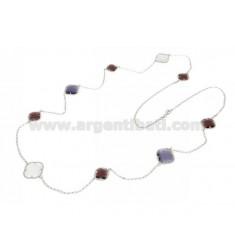 CHANEL plata del rodio 925 ‰ Y PIEDRAS HIDROTERMAL púrpura y blanco COLOR 08/13/52 CM 90