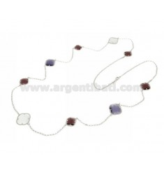 LACE NECKLACE IN RHODIUM-PLATED SILVER 925 ‰ AND HYDROTHERMAL STONES PURPLE AND WHITE COLOR 8-13-52 CM 90