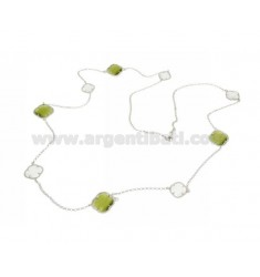 LACE NECKLACE IN RHODIUM-PLATED SILVER 925 ‰ AND WHITE AND GREEN HYDROTHERMAL STONES COLOR 8-9 CM 90