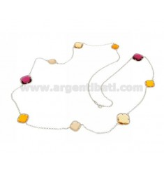 LACE NECKLACE IN RHODIUM-PLATED SILVER 925 ‰ AND HYDROTHERMAL STONES YELLOW OCHER AND FUCHSIA RED COLOR 8-13-52 CM 90