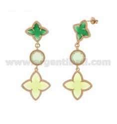 SPIKED EARRINGS FLOWER, FLOWER ROUND POINTED IN GREEN COLOR STONES HYDROTHERMAL 23/04/70 AG IN ROSE GOLD PLATED TIT 925