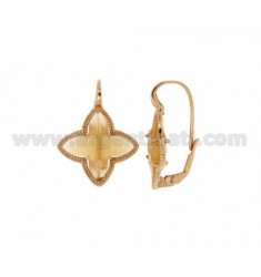 4 POINTS WITH FLOWER EARRING nun HYDROTHERMAL STONE COLOR YELLOW OCRE 3 MATT SILVER ROSE GOLD PLATED TIT 925