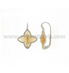 FLOWER EARRING Monachella 4 POINTS WITH COLOR YELLOW OCRE MATT STONE HYDROTHERMAL 3 IN RHODIUM TIT 925
