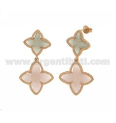 4 FLOWER EARRINGS DOUBLE POINTS IN GREY AND PINK STONES HYDROTHERMAL 51.11 MATT COLOR IN ROSE GOLD PLATED AG TIT 925