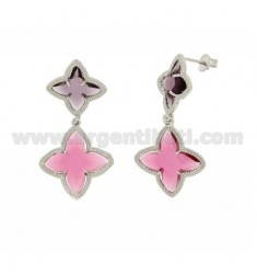 4 TIPS DOUBLE FLOWER EARRINGS STONE HYDROTHERMAL RED PINK AND PURPLE IN COLOR 16.13 AG RHODIUM TIT 925