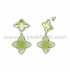 4 TIPS DOUBLE FLOWER EARRINGS IN GREEN STONES HYDROTHERMAL PERIDOTT TRANSPARENT AND OPAQUE COLOR AG 23.9 IN RHODIUM TIT 925