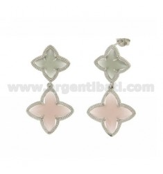 4 FLOWER EARRINGS DOUBLE POINTS IN GREY AND PINK MATT STONE HYDROTHERMAL 51.11 IN COLOR AG RHODIUM TIT 925