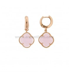 EARRINGS IN SILVER PLATED ROSE GOLD PLATED TITLE 925 ‰ AND SMALL FLOWER IN HYDROTHERMAL STONE LIGHT MATT PINK 11