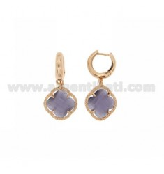 BEAD EARRINGS SILVER PLATED ROSE GOLD 925 ‰ TITLE AND FLOWER PENDANT SMALL STONE COLOR PURPLE PEARL 13 HYDROTHERMAL