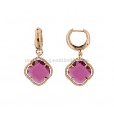 EARRING BIRTH IN SILVER PLATED ROSE GOLD TITLE 925 ‰ AND FLOWER PENDANT SMALL IN HYDROTHERMAL STONE RED FUCSIA 16