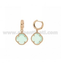 BEAD EARRINGS SILVER PLATED ROSE GOLD 925 ‰ TITLE AND FLOWER PENDANT SMALL STONE COLOR GREEN TIFFANY HYDROTHERMAL 20