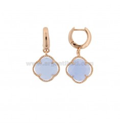EARRINGS IN SILVER PLATED ROSE GOLD PLATED TITLE 925 ‰ AND SMALL FLOWER IN HYDROTHERMAL STONE SUGAR PAPER 28