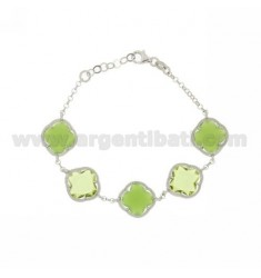 FLOWERS IN SMALL STONES BRACELET 5 HYDROTHERMAL COLOR GREEN TRANSPARENT AND MATT 42.23.42.23.42 E AG RHODIUM TIT 925