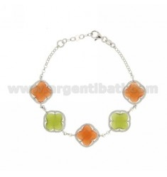 FLOWERS IN SMALL STONES BRACELET 5 HYDROTHERMAL COLOR ORANGE AND GREEN PEARL COLOR AND 6.9.6.9.6 AG RHODIUM TIT 925