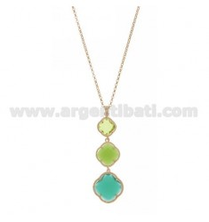 ROLO CHAIN &8203&8203&39PENDANT WITH A 45 CM 3 DEGRADE FLOWERS IN GREEN TONES WITH STONES HYDROTHERMAL 23.42.40 SILVER ROS