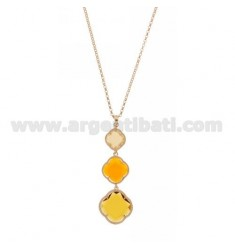 ROLO CHAIN &8203&8203&39PENDANT WITH A 45 CM 3 DEGRADE FLOWERS IN THE TONE WITH STONES HYDROTHERMAL 31.61.3 YELLOW ROSE GO