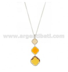 ROLO CHAIN &8203&8203&39PENDANT WITH A 45 CM 3 DEGRADE FLOWERS IN THE YELLOW TONE WITH STONES HYDROTHERMAL 31.61.3 SILVER