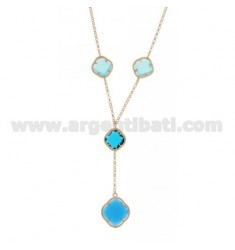 BEVERLY TYPE NECKLACE 40 CM WITH STONES HYDROTHERMAL A FLOWER WITH TONES OF BLUE 59.30.65 AG IN ROSE GOLD PLATED 40 CM TIT 925 ‰