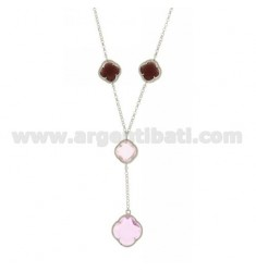 BEVERLY TYPE NECKLACE WITH STONES HYDROTHERMAL 40 CM WITH A FLOWER IN TONES OF PINK 52.35.50 AG RHODIUM TIT 925 ‰ CM 40
