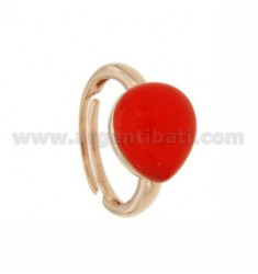 RING WITH DROP MM 1,4 X1, 2 RED ROSE GOLD PLATED 57 IN AG TIT 925 SIZE ADJUSTABLE