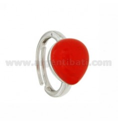 RING WITH DROP MM 1,4 X1, 2 RED 57 IN RHODIUM AG TIT 925 SIZE ADJUSTABLE