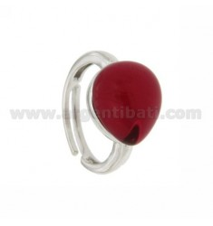 RING WITH DROP MM 1,4 X1, 2 57 STRAWBERRY IN RED AG TIT 925 RHODIUM SIZE ADJUSTABLE