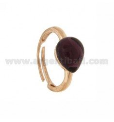 HYDROTHERMAL STONE RING WITH A DROP IN AG MM 1 13 PURPLE ROSE GOLD PLATED ADJUSTABLE SIZE TIT 925