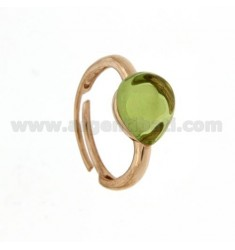 HYDROTHERMAL STONE RING WITH A DROP IN 23 MM 1 GREEN PERIDOTT AG ROSE GOLD PLATED ADJUSTABLE SIZE TIT 925