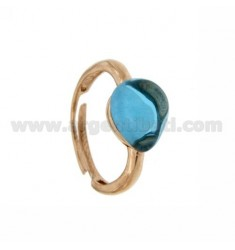 HYDROTHERMAL STONE RING WITH A DROP IN 65 MM 1 TURQUOISE AG ROSE GOLD PLATED ADJUSTABLE SIZE TIT 925